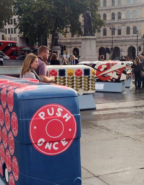 Detail of our 'Push Once' bus sculpture in Trafalgar Square.