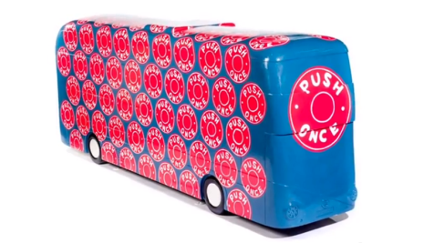 Mini Moderns 'Push Once' bus sculpture for TFL year of the Bus. Painted by Sophie Green